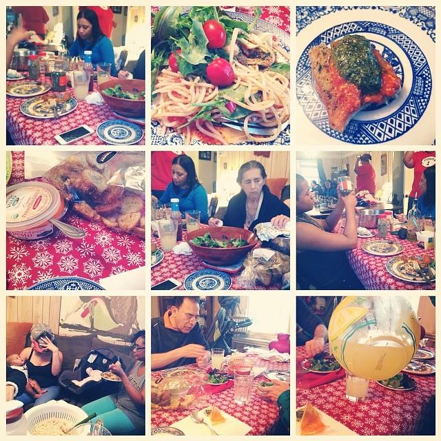 2nd Monday Night Family Dinner. April 7th, 2014. #family #familytime #babytime #glutenfree #pasta #basilpesto #redpepperpesto #pesto #garlic #bread #fairway #tomatosauce #tomatoes #salad #spinach #springmix #livehappily #eatnaturally #thecitruslife