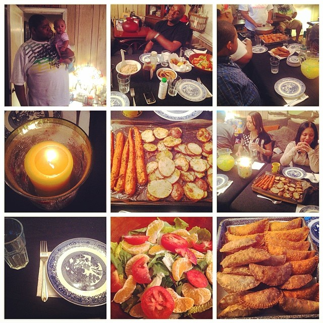 1st Monday Night Family Dinner. March 31st, 2014. #familytime #family #friends #empanadas #salad #tomatoes #brownrice #roasted #carrots #potatoes #rosemary #parsley #garlic #Arrozconsalchichas #oranges #thecitruslife #livehappily