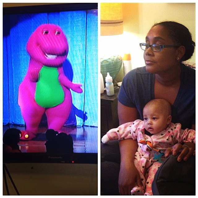 The baby's face when Barney comes on the screen… #Barney #twinning #twinsister #proudaunty #BJ #baby #babytime #bedtime #livehappily #thecitruslife