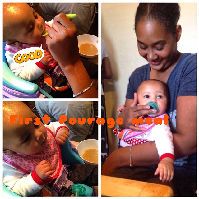 Trying her first #cornmeal #pourage with mommy. #twinning #proudaunty #twinsister #babytime #baby #eatnaturally #first