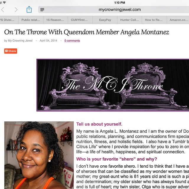 I'm super excited to have been featured on the #MyCrowningJewel blog, #TheThrone, along with the fabulous @tonidaley #SupportASista #Campaign #jewelrydesigner and #DrNicoleChristianBraithWaite Here's the link. Check out our stories and my #twinsister's #HappyAccident #Berry #Peppery #Juice #Recipe from #TheQueendom Thanks Veronica! @mycrowningjewel http://www.mycrowningjewel.com/blogs/the-throne