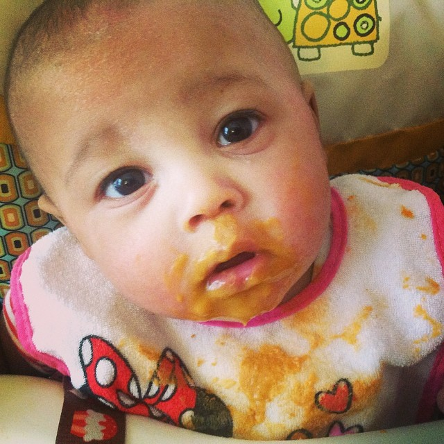 Huh? Do you have more food for me? #baby #babytime #feedingtime #sweetpotatoes #highchair