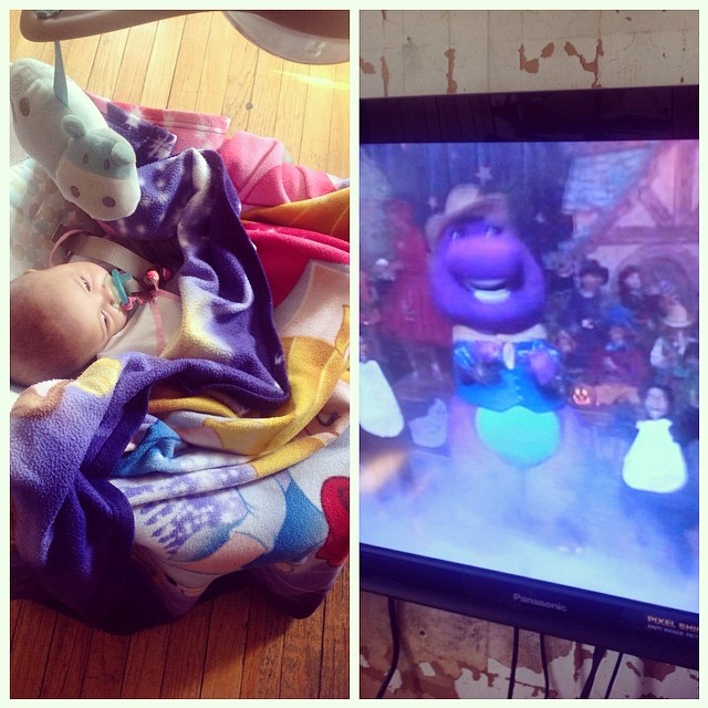 She LOVES #Barney I never thought I would watch and sing so many episodes to her but hey….it makes her happy, lol. #livehappily #connect #baby #babytime #barneyhalloween #7months