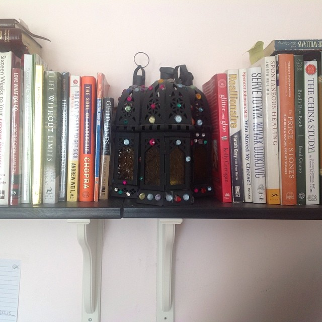 My crafty little book stoppers that are actually candle holders. #crafts #candleholder #books