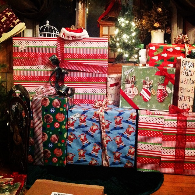 Wrapping gifts and I think I hate wrapping paper at this point. #happyholidays