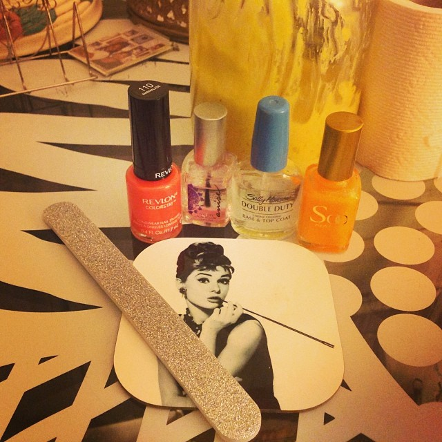 Day 7 of my cold and I still have some nasal and chest congestion but I'm going to make myself feel better by pampering my cuticles. I love orange in Autumn. #livehappily #thecitruslife #pampering #nailpolish #orange #sheabutter #audreyhepburncoasters
