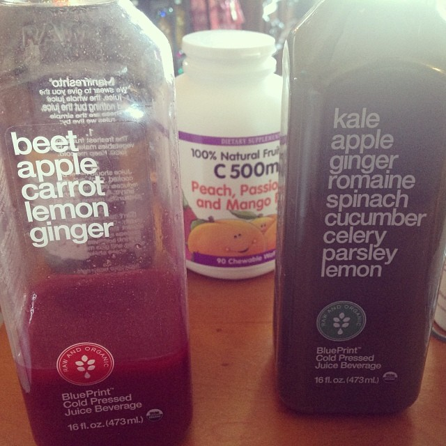 Day 5 of my cold and I was drowning the cold with @BPCleanse #beet #apple #carrot #lemon and #ginger juice. Love their #kale #romaine #cucumber #celery #parsley combo. #keepitfresh #eatnaturally #thecitruslife #BPCleanse #blueprintjuice