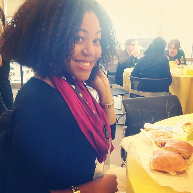 @aliahdiva eating her yummy @wichcraft sandwich at #RH openhouse love that hair!