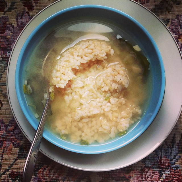 Miso soup with brown rice for lunch. Hearty. Warming. Light. Yummy. #eatnaturally #keepitfresh #thecitruslife #misosoup #brownrice