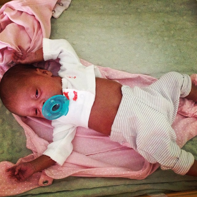 """Mush mush"" and her first preemie outfit from #BabiesRUs–from #CartersClothing. She's already outgrowing it. #livehappily #newborns #preemies #thecitruslife"