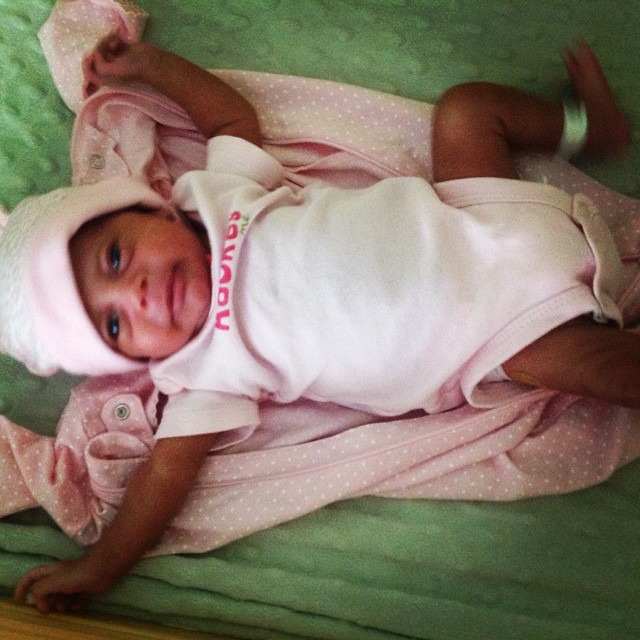 "Yes, I'm changing my little ""mush mush."" She's not very happy. #livehappily #thecitruslife #newborns"