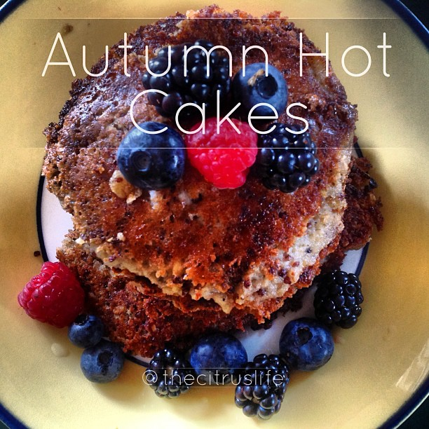 These Autumn Hot Cakes, I created, are a healthy and great way to begin a cool morning. This no-flour, no-egg, no-dairy recipe can definitely stack up to its traditional pancake counterpart and then some. Want the recipe? #keepitfresh #joinmeonmyjourney #thecitruslife #pancakes #hotcakes #veganpancakes