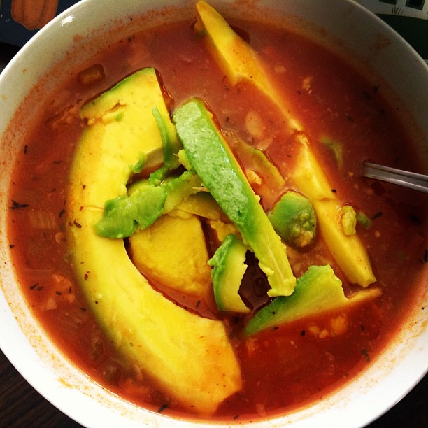 Vegetable tomato soup with avocado. The first meal I ate when I came home from the hospital. #joinmeonmyjourney #keepitfresh #thecitruslife