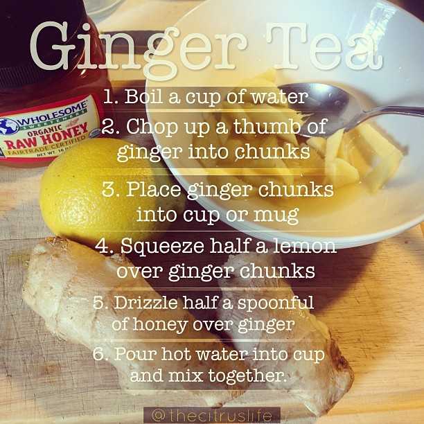 Ginger Tea Recipe. Love this ginger tea anytime of year. It's great any time of the day and even better for tummy aches. Enjoy! #keepitfresh #gingertea #ginger #honey #meyerlemon