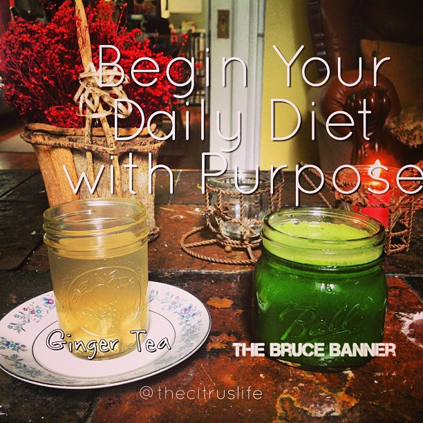 Begin your daily diet with purpose. #Coolmornings. #thebrucebanner #greenjuice #gingertea #ginger #keepitfresh #thecitruslife #autumnfavorites #kale #swisschard #meyerlemon #greenapple #celery #romaine #cucumber #honey
