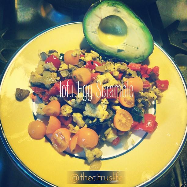 Tofu Egg Scramble. Yum! This was surprisingly yummy! Want the recipe? Check out Jackie Sobon's Vegan Yack Attack: http://veganyackattack.com/2013/07/12/tofu-scramble-breakfast-sandwiches/ #keepitfresh #thecitruslife #tempeh #tofu #redpeppers #cherrytomatoes #avocado #turmeric #kale #pepper #onion #garlic #coconutoil #nutritionalyeast