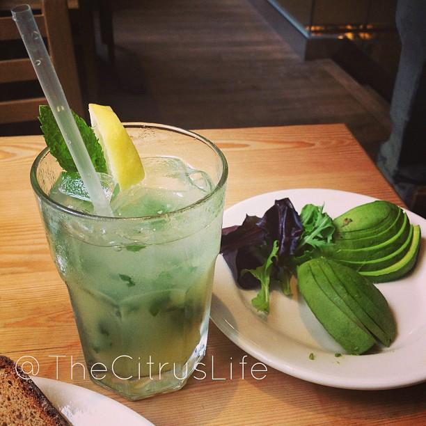 Mint lemonade and a side of avocado. Love me some #Avocado #lepainquotidien #keepitfresh #thecitruslife