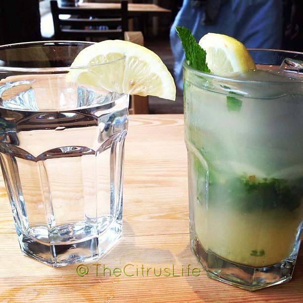Cold water with lemon and mint lemonade at #LePainQuotidien #citruslife #keepitfresh