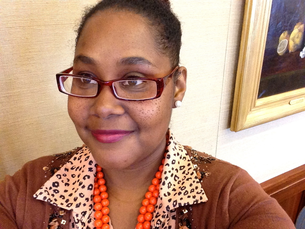 I really loved this look I pieced together while working at a conference a couple weeks ago; An orange vintage necklace against this blouse from Fashion to Figure with this cute cardigan I scooped from a thrift store in CT called, Savers.