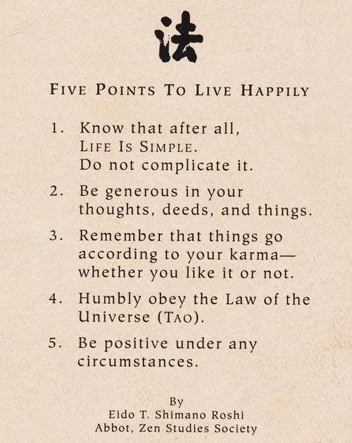 Five points to live happily.