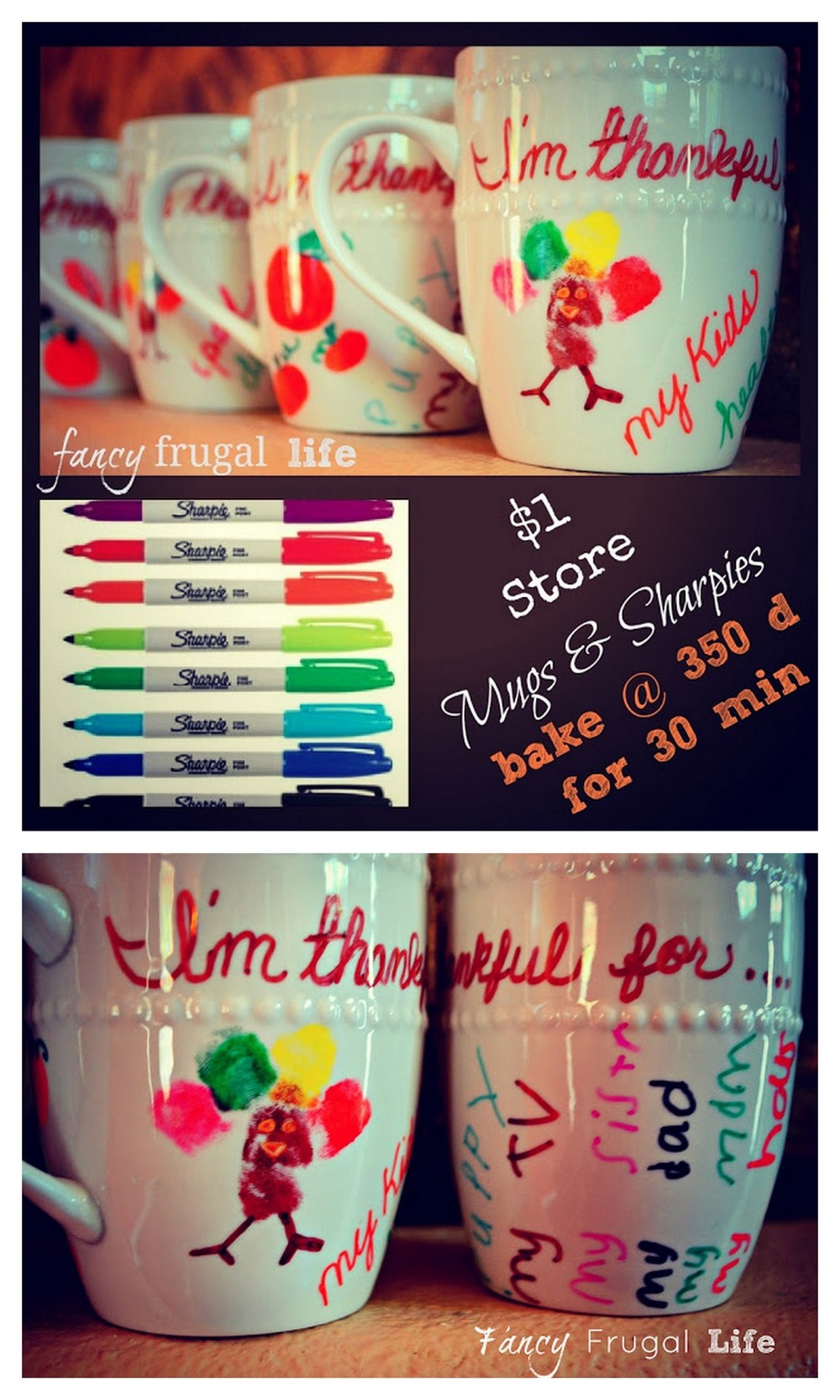 This DIY Thanksgiving Writeable Mug from the Fancy Frugal Life blog is not only great for children but adults as a fun way of sharing what you are most thankful for around the Thanksgiving Dinner Table. Enjoy and remember, Life Is Style, so How Do You Entertain? Subscribe to The Citrus Life Newsletter! rainbowsandunicornscrafts: DIY Sharpie Mugs Tutorial from Fancy Frugal Life here.I've seen tons of sharpie mug projects done to death, but I liked the idea of kids drawing designs on them (and yes, I'd be really careful and roll up their sleeves and put an art smock on them or something to keep permanent sharpies off their clothes!). Another reason I haven't posted the sharpie mugs is that you should only hand wash them (a pain) but I figured that the mugs could also be used as pencil/pen holders too.