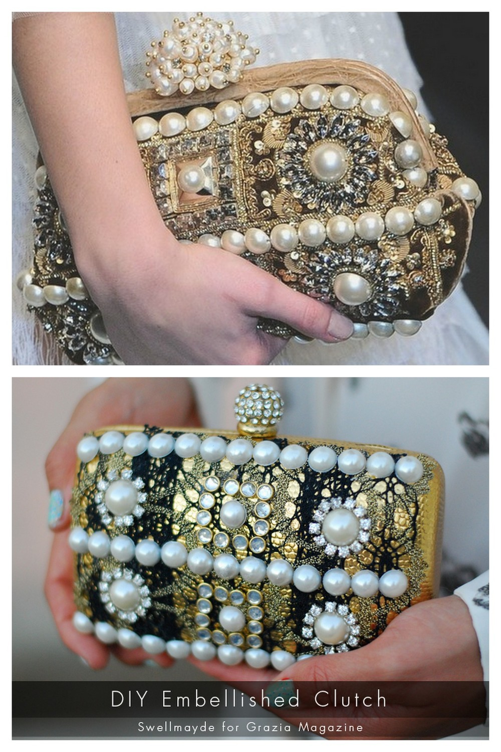 """truebluemeandyou: DIY Dolce & Gabbana Inspired Embellished Clutch Tutorial from Swellmayde here.Really clear and easy to do tutorial. Top Photo: Dolce & Gabbana Embellished clutch here, Bottom Photo: DIY by Swellmayde. For other knockoff or """"inspired by"""" tutorials go here: truebluemeandyou.tumblr.com/tagged/knockoff"""