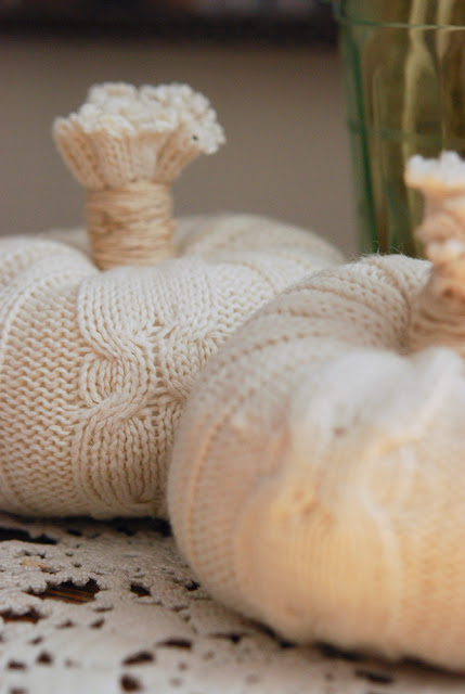 """unconsumption: For a fall decorating idea, consider upcycling old sweaters into """"pumpkins."""" For a brief tutorial, seeJill Ruth & Co.: Warm 'N Toasty Pumpkins. Simple — and clever! (If you're onPinterest, you might have come across a similar ideaherefrom the Small Fry & Co. blog.) Cable Knit Clothed Pumpkins (Photos via Jill Ruth & Co.) For other sweater-upcycling ideas, check out earlier Unconsumption posts here. Find more Halloween-related posts here."""