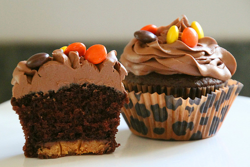 Devils Food Halloween Reese's Cupcakes