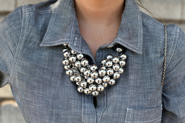 Silver bubbles pair beautifully with a denim look.