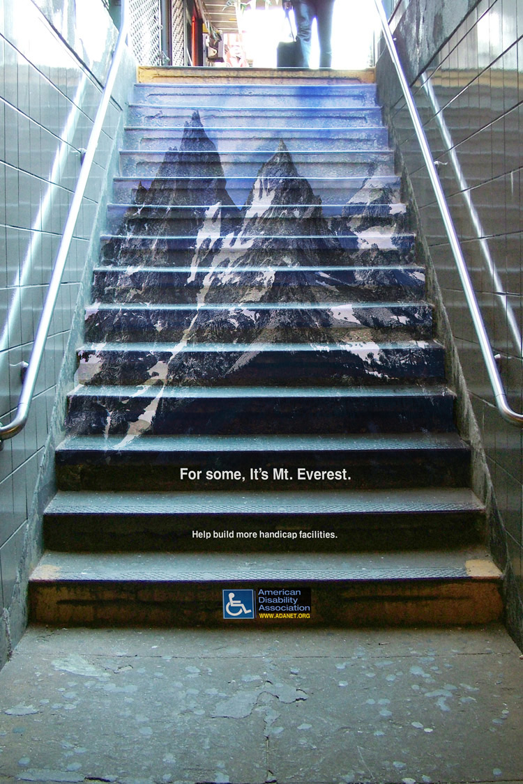 "I think for people utilizing both feet, it's Mt. Everest.  ""For some, It's Mt. Everest Help build more handicap facilities."""