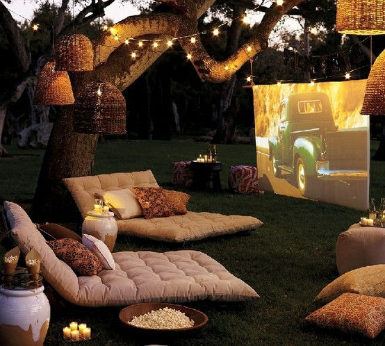 I love this! What movie would you watch? And…I hope those are citronella candles. You don't want such a beautiful night ruined by mosquito attacks.