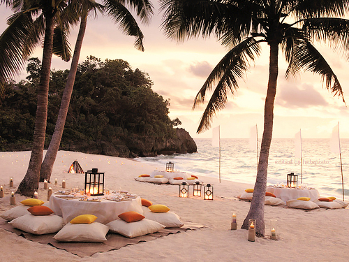 Pillows and lanterns…a great addition to a beach dinner.