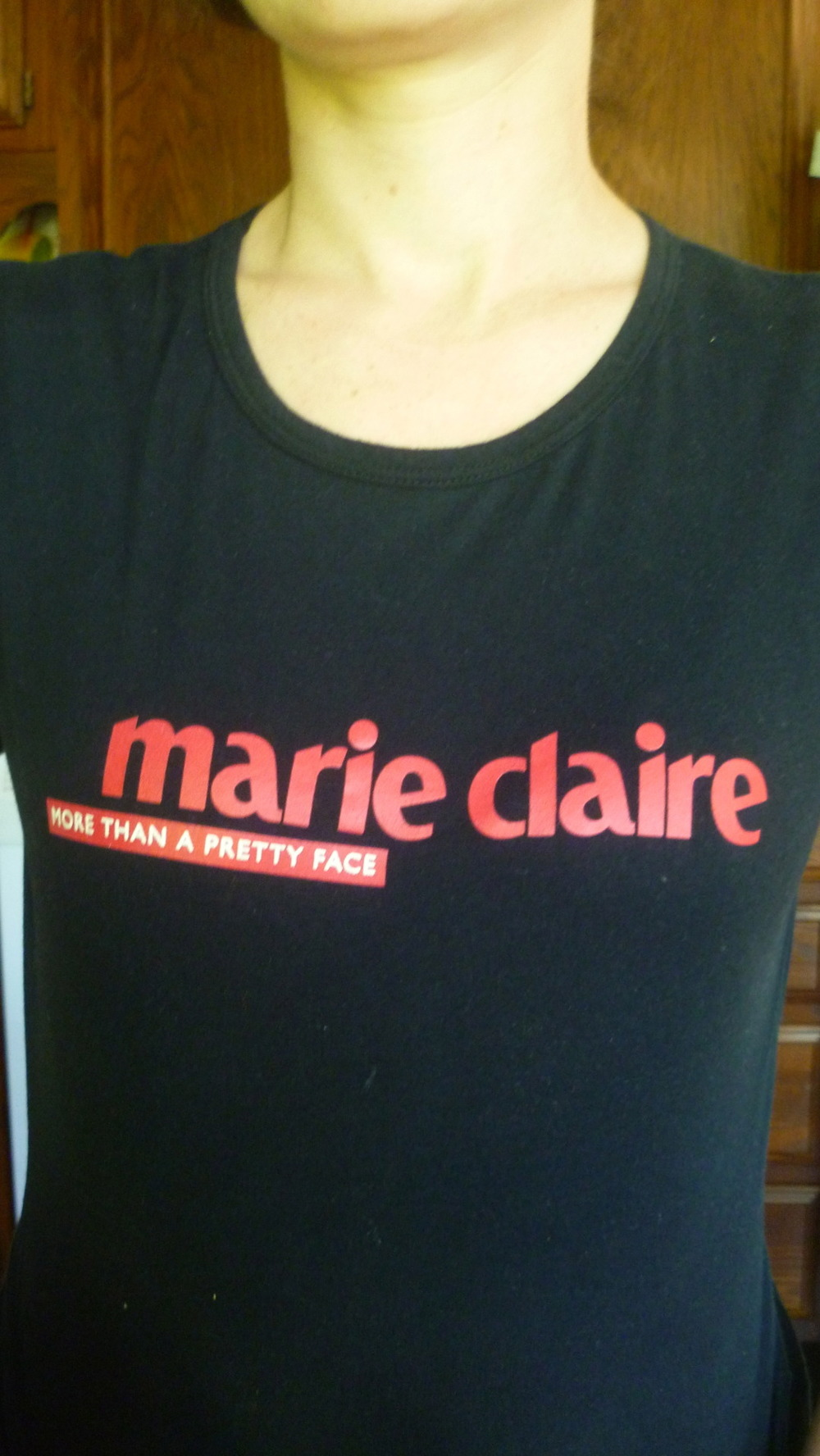 My cousin had this shirt on and I had to snap a photo of it. Why? Cause Marie Claire is taking over the world!