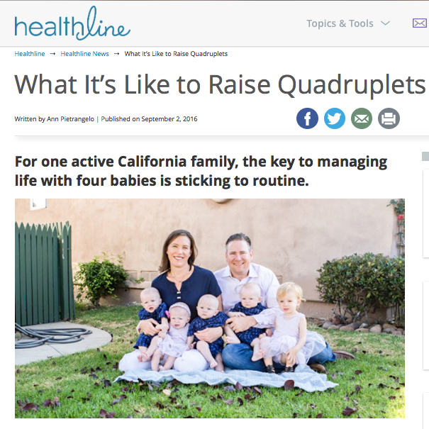 "Healthline Article: ""What It's Like to Raise Quadruplets"""