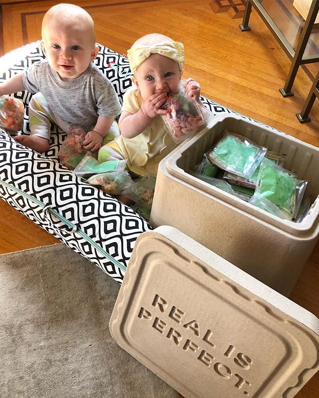 Gus & Hannah getting down on some REAL baby food!! 🙌 We tried @raisedreal home-delivered subscription baby food and the twins were definitely diggin' all the unique flavor and food combos 🌱 I've got a full rundown of how #raisedreal works, more pics of Gus & Hannah chowing down + a $25 discount code for your 1st order all up on my blog today 😍 Click the link in my profile to read the blog post 📲 #ad #2018BabyLife