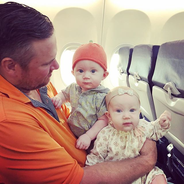 """Pre-flight pep talk from dad: """"No crying, no crying...actually if you could just sleep the whole way home that would be great!!"""" (#especiallyyoupumpkinhead) ✈️ @southwestair"""