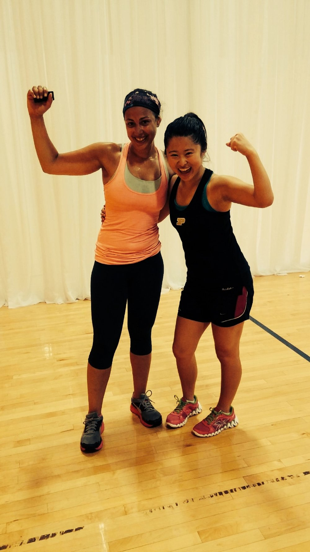 B.J. working out with other lady bosses at Washington Fit Fest