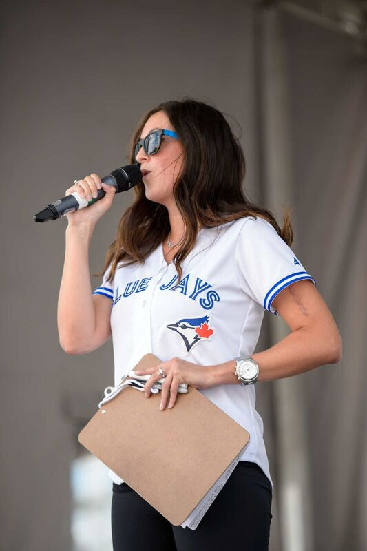Aly Munro Hosting a Friday Night Fan Festival for the Toronto Blue Jays in July 2015.