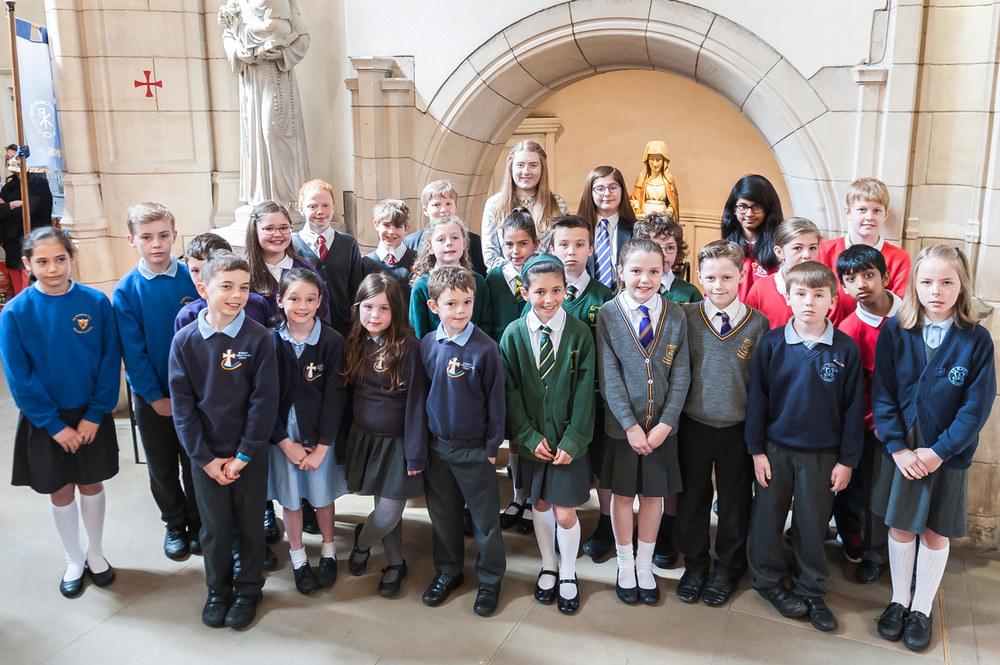 Commemorative photo showing pupils from all ten schools in our Trust.