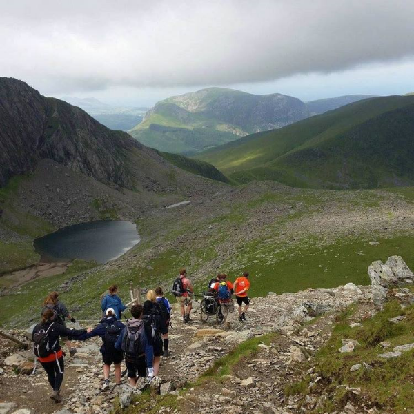 Descending Mount Snowdon with Team Tangled at the Back Up Snowdon Push 2015