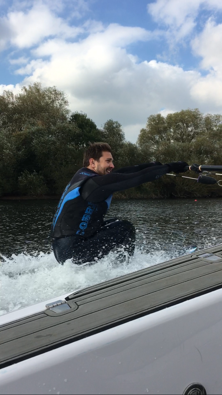 My friend Henry loving a bit of waterskiing - up first time!