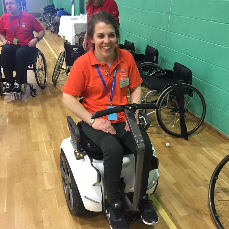 Me having ago on the awesome (segway style) Genny wheelchair at the Spinal Unit Games - definitely on my wish list!