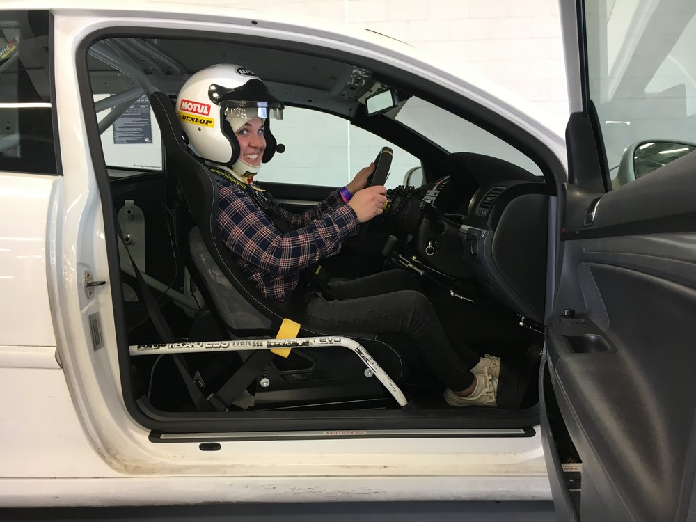 In the driving seat of Spinal Track's zooped up VW Golf!