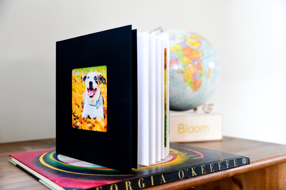 Custom made albums. - A beautifully made hard cover photo album with high quality cardboard pages. The photographer designs and special orders the album for you. (Available only with package purchase.)