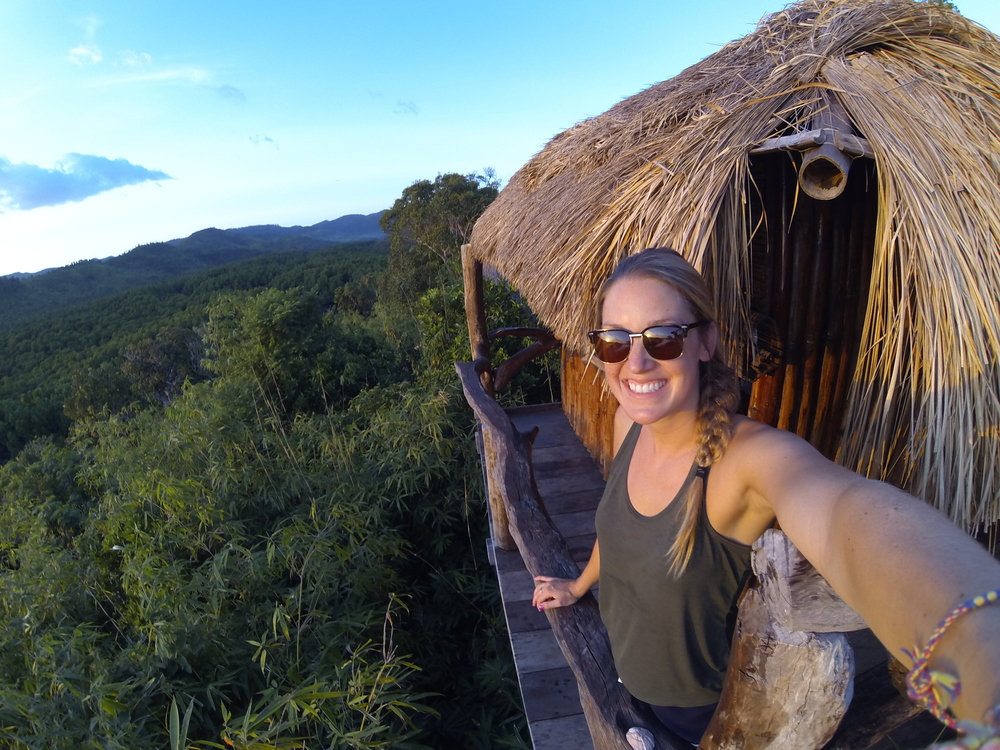On a treehouse in the Philippines.