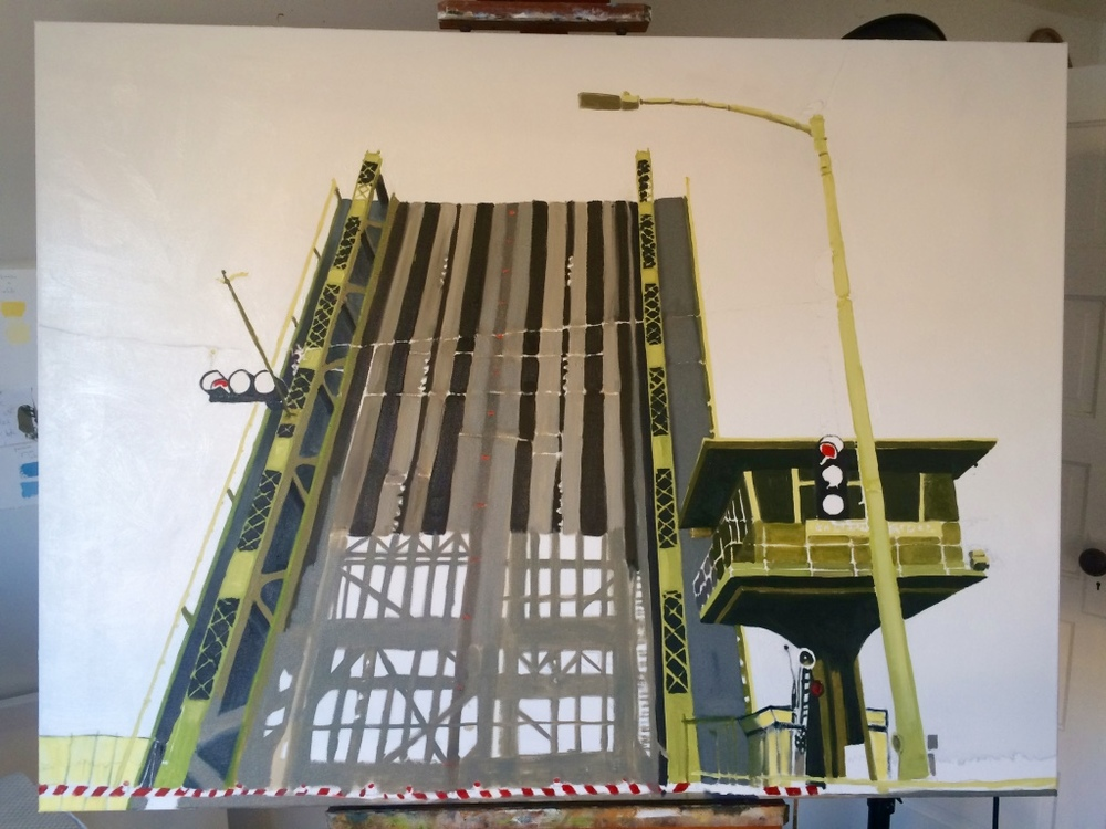 "Lucky to be the first car in line as the Ballard Bridge went up...my camera captured a stunning spectacle and an iconic image for a painting.  Just started this big piece:  48""x36""."