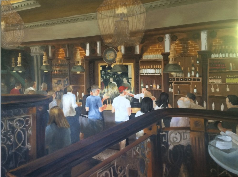"No title yet...it's a bar in London...and this painting is huge at 36""x48""."