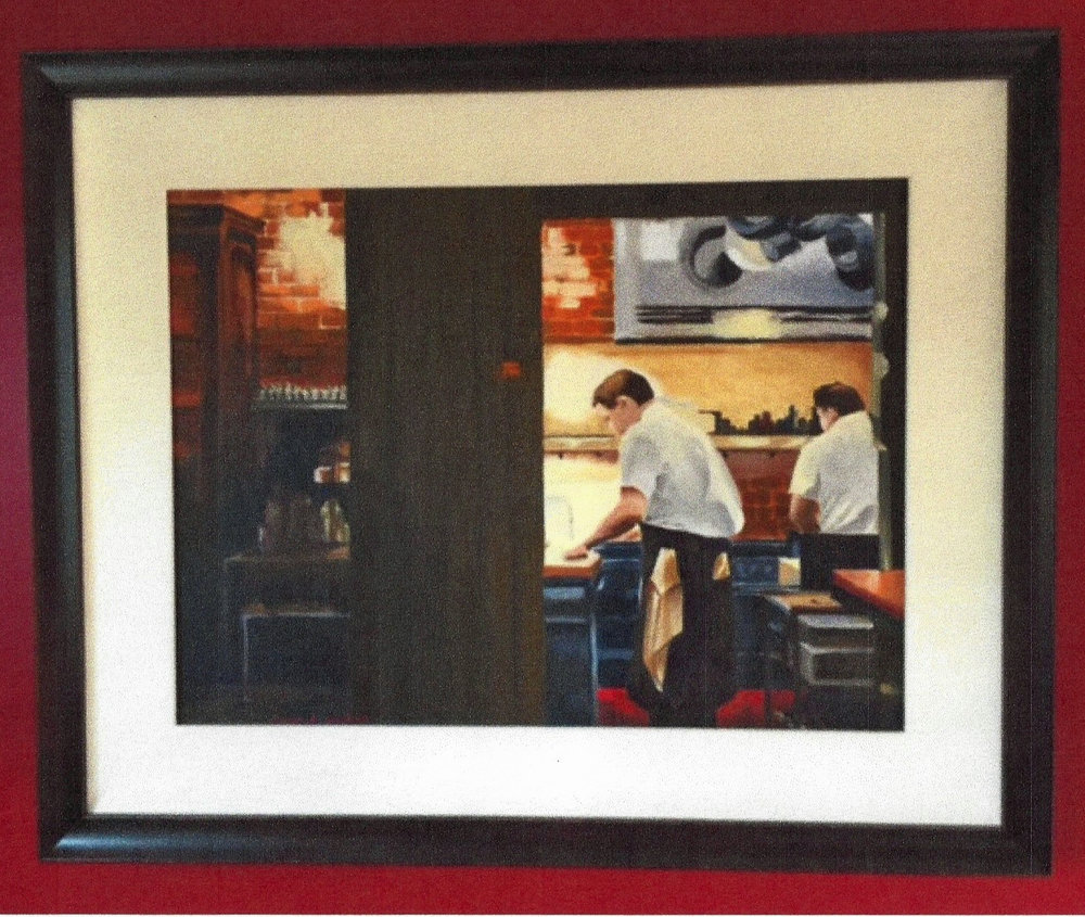 "And, another source of delight is seeing my work custom-framed and in a home...this is "" Stretching Minutes Into Moments "" on a red wall.  Stunning!"