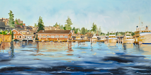 "This is historic Meydenbauer Bay...painted 18""x36""...and such a joy to create.  I have been working on five commissions over the summer and loving it!"