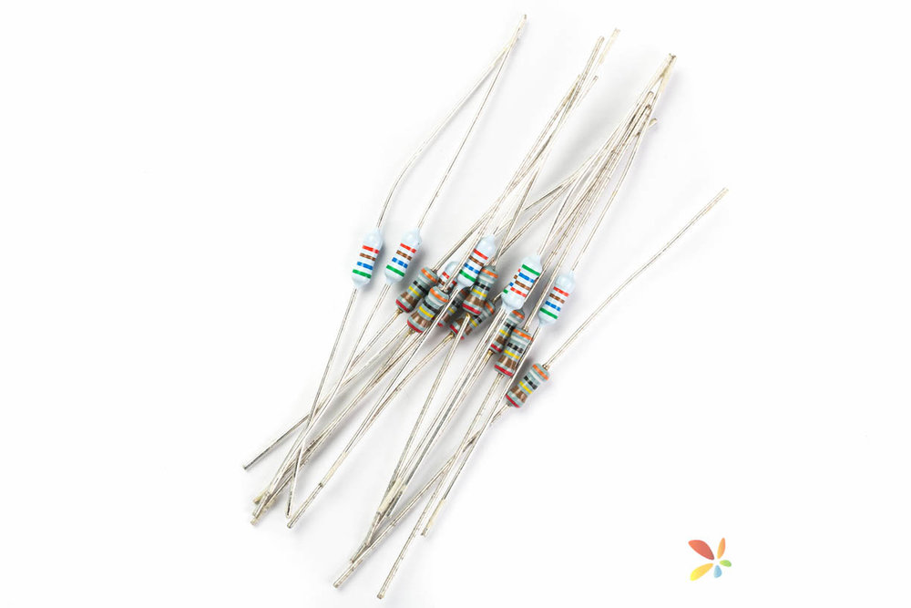Bundle of Resistors against a white background